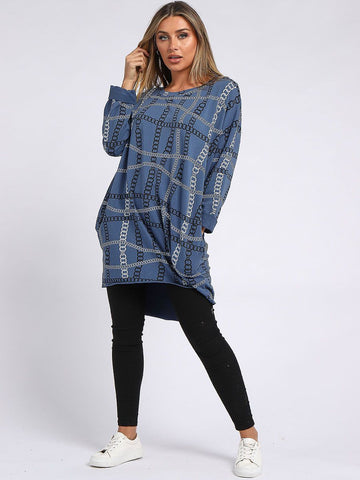 Cotton Chain Print Tunic Top - Denim