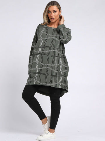 Cotton Chain Print Tunic Top - Khaki