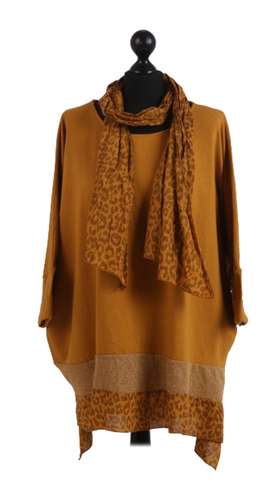 Leopard Print Scarf & Dipped Hem Cotton Top - Mustard