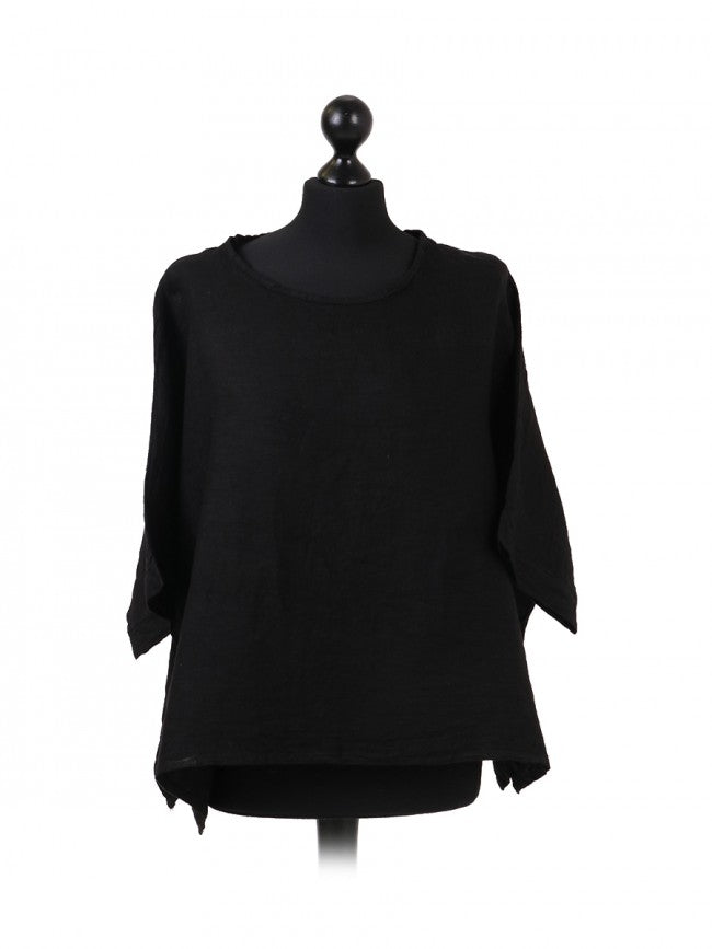 Italian Plain Linen Top - Black