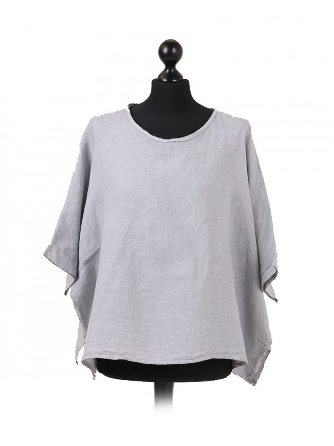 Italian Plain Linen Top - Light Grey