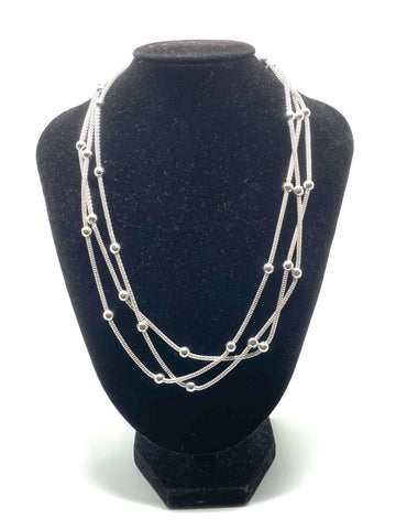 Multi Strands Beaded Necklace - Silver