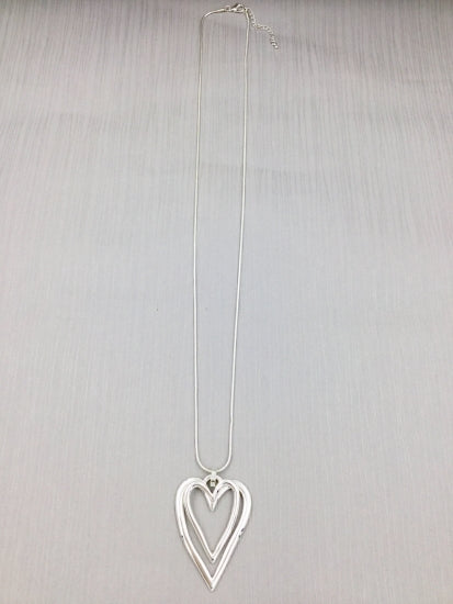 Long Silver Double Heart Necklace