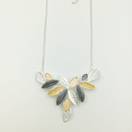 Falling Leaves Necklace - Gold, Grey & Silver