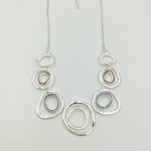 Abstract Circles Necklace - Pink, Grey & Silver