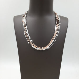 Multi Strands Beaded Necklace - Silver & Rose Gold