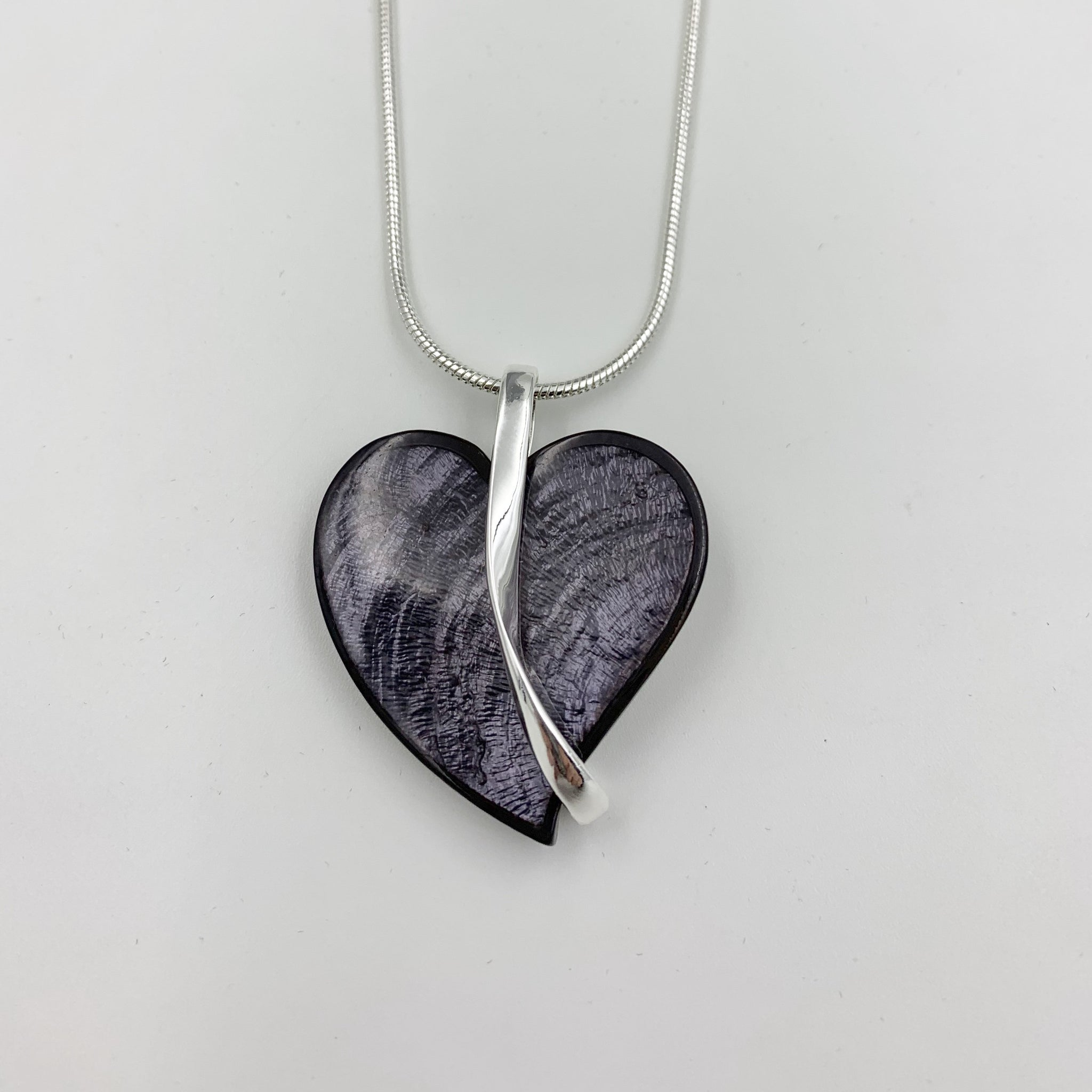 Grey Heart Necklace with Silver Bar