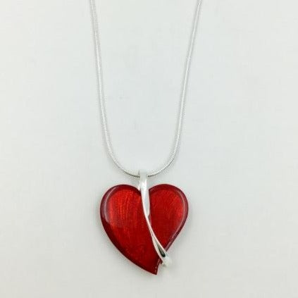 Red Heart Necklace with Silver Bar