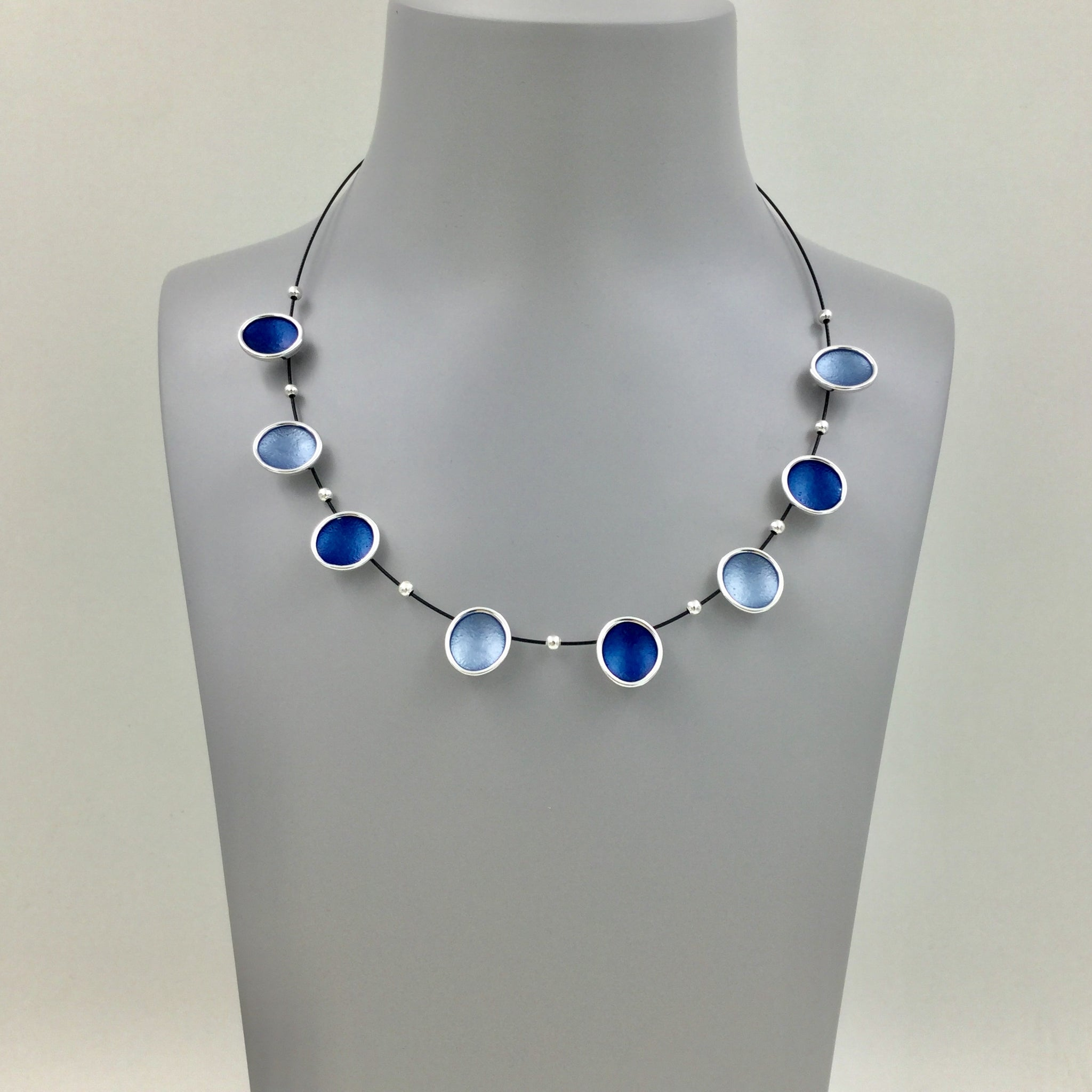 Blue & Grey Circles Necklace