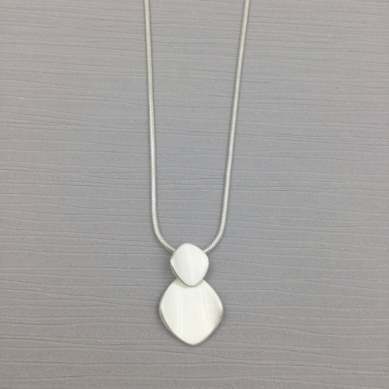 Two Square Brushed Silver Necklace