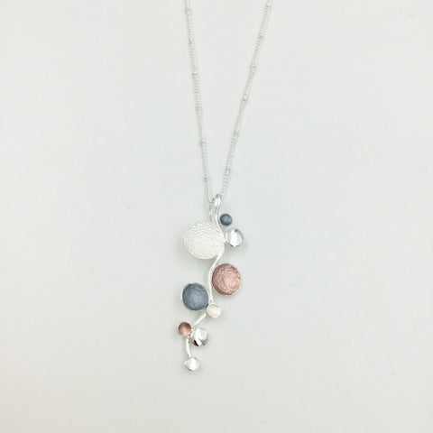 Floating Bubbles Necklace - Pink, Grey & Silver