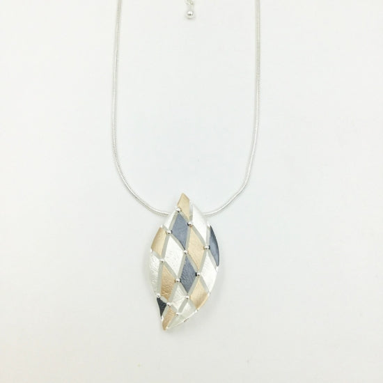 Criss-Cross Necklace - Gold, Grey & Silver