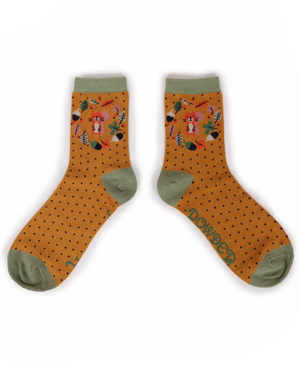 Autumn Squirrel Ankle Socks by Powder