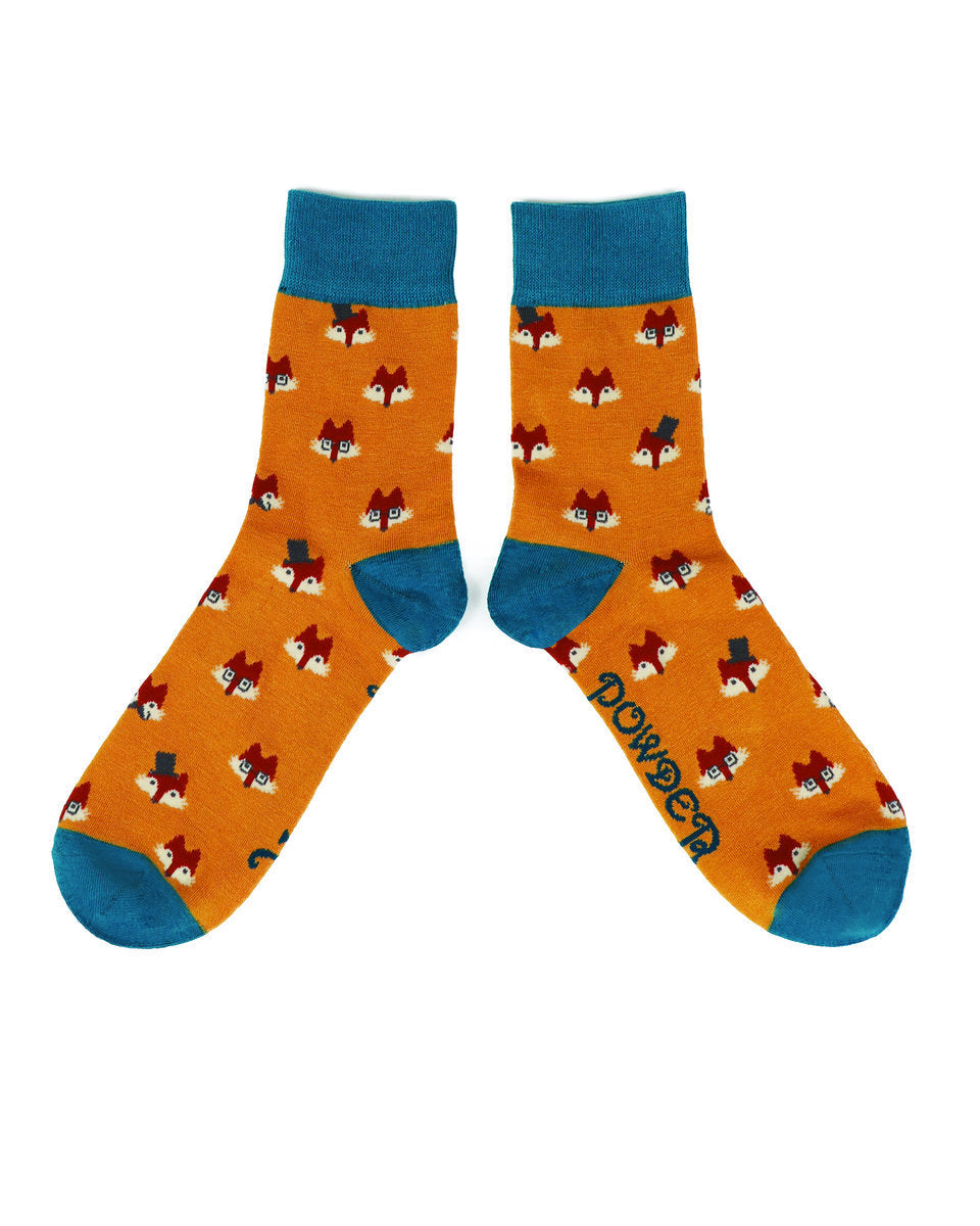 Mens Fox Faces Ankle Socks by Powder