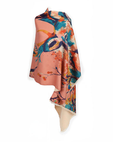 Watercolour Stag Luxurious Print Scarf by Powder
