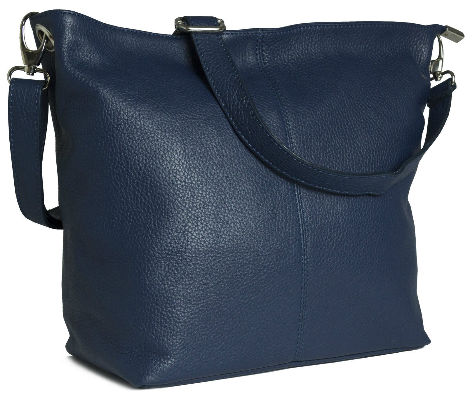 Classic Leather Shoulder Cross Body Bag - Navy