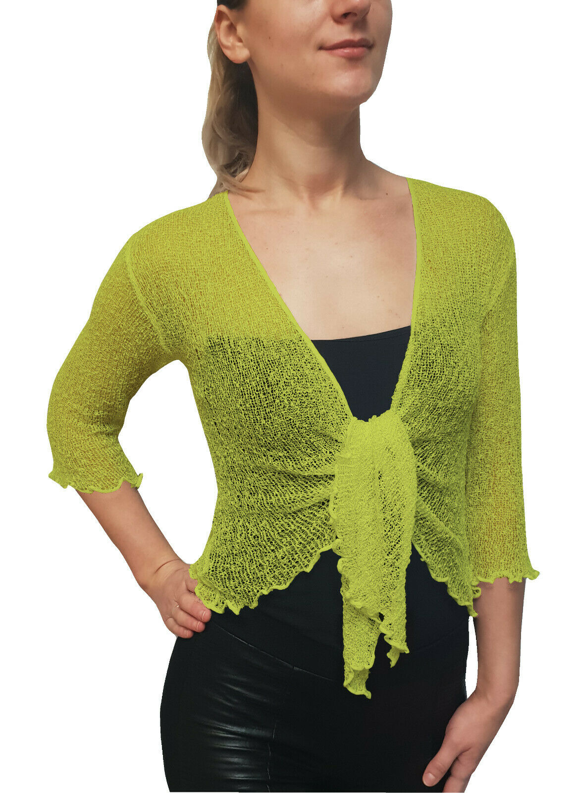 Knitted Shrug Cardigan - Lime