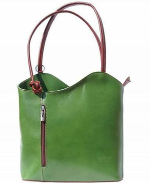 Leather Backpack Handbag - Green and Brown