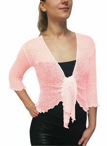 Knitted Shrug Cardigan - Light Pink
