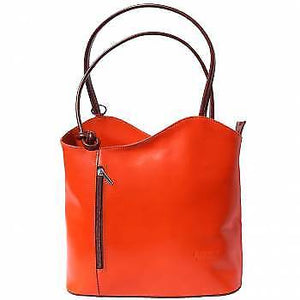 Leather Backpack Handbag - Orange and Brown
