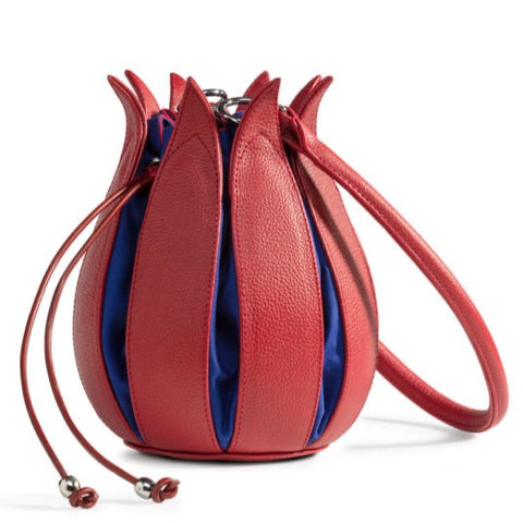 By-Lin Tulip Leather Bag - Red - Cobalt lining