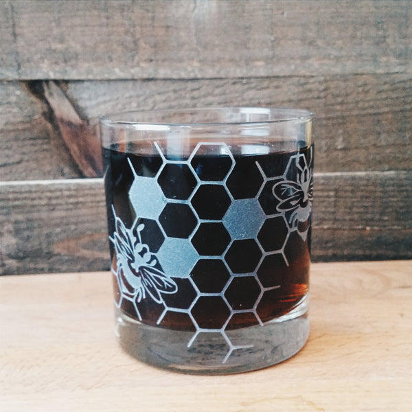 Honeycomb Etched Glassware Glassware- Monster Dance Designs