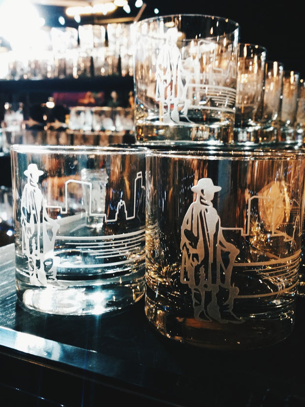 Stevie Ray Vaughan Etched Whiskey Glass 1