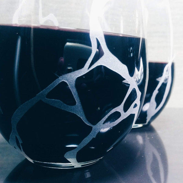 Kintsugi Etched Stemless Wine Glasses Glassware- Monster Dance Designs