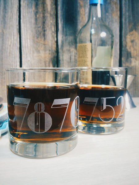 Zip Code Customized Etched Old Fashioned | Scotch | Rocks Glass - Monster Dance Designs  - 2
