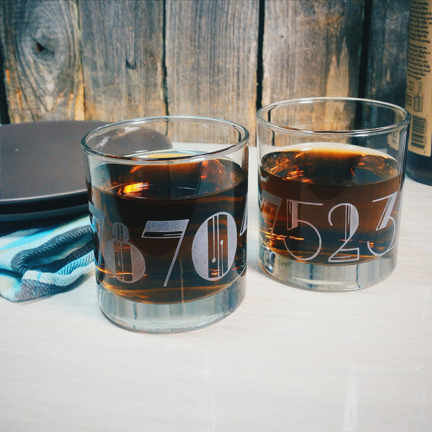 Art Deco Numbers ( Zip Code,  Area Code, House Numbers) Customized Etched Whiskey Glasses 1