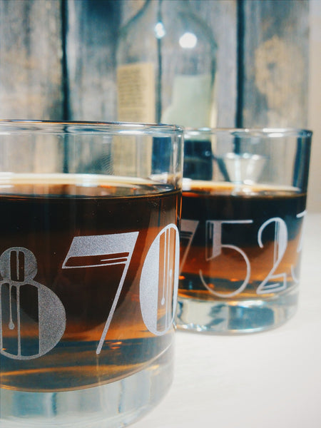 Zip Code Customized Etched Old Fashioned | Scotch | Rocks Glass - Monster Dance Designs  - 5