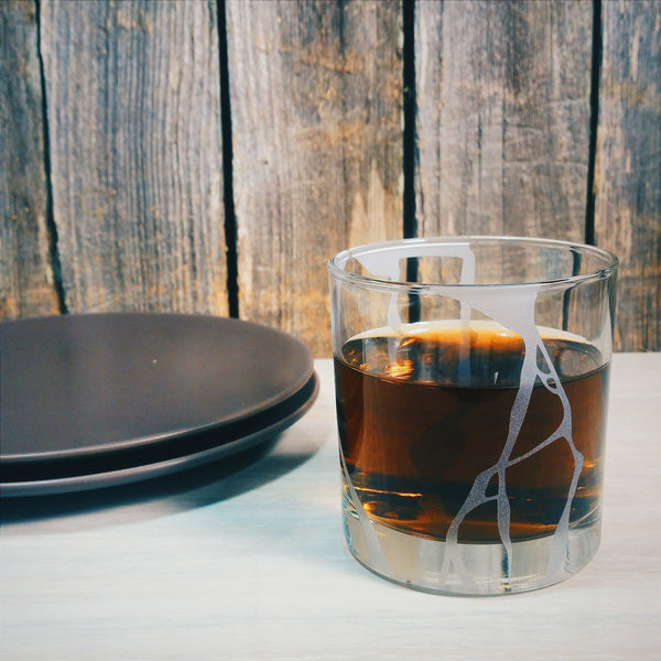 Kintsugi Etched Cocktail Glass