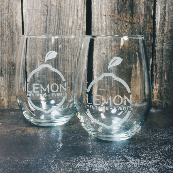 Custom Etched Personalized Stemless Wine Glass Glassware- Monster Dance Designs