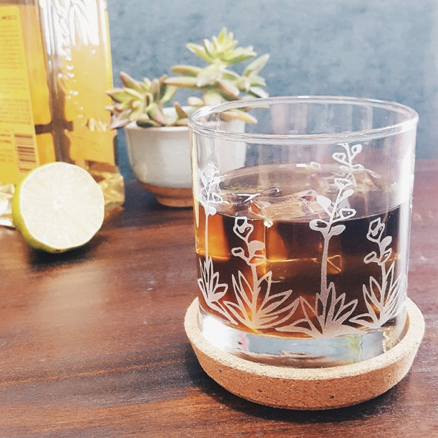 Agave Cactus Etched Whiskey Glass 1