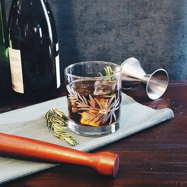 Rosemary Etched Whiskey Glass 1
