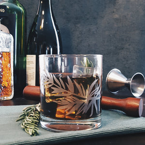 Rosemary Etched Whiskey Glass