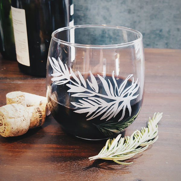 Rosemary Etched Stemless Wine Glass