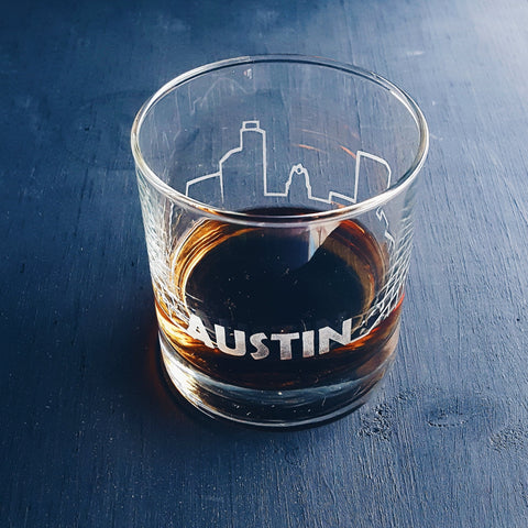 Austin Skyline | Old Fashioned Scotch Etched Glass Glassware- Monster Dance Designs