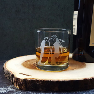 Emperor Penguins Etched Whiskey Glass