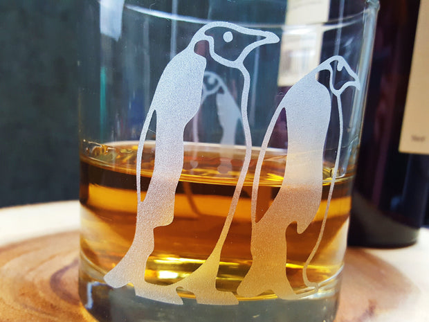 Emperor Penguins Etched Whiskey Glass 1