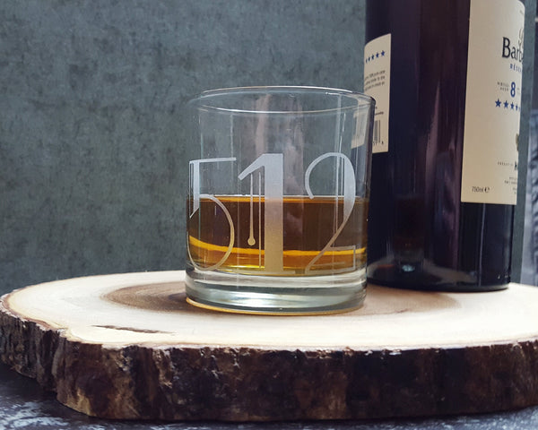 Art Deco Numbers | Zip Code | Area Code | House Numbers | Customized Etched Old Fashioned | Scotch | Whiskey Glasses
