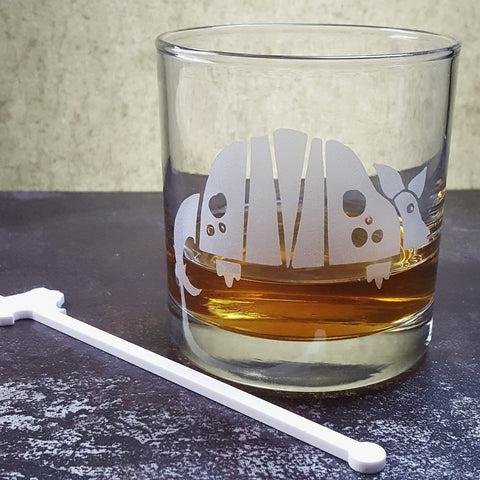 Armadillo Etched Glassware | Beer Glass Pint | Old Fashioned Whiskey Rocks Glass | Shot Glass | Cute Texas Armadillo Glassware- Monster Dance Designs