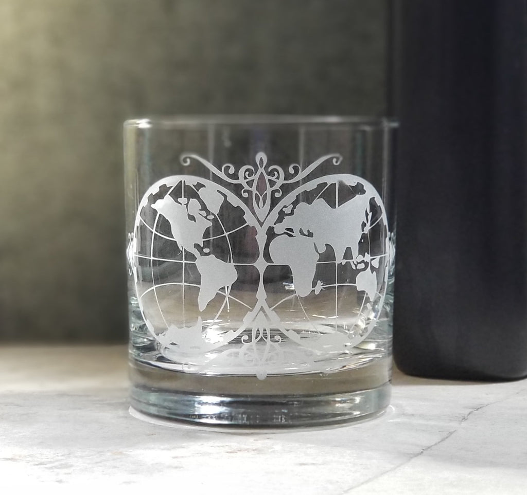 World Map Etched Cocktail Rocks Old Fashioned Glass Glassware- Monster Dance Designs