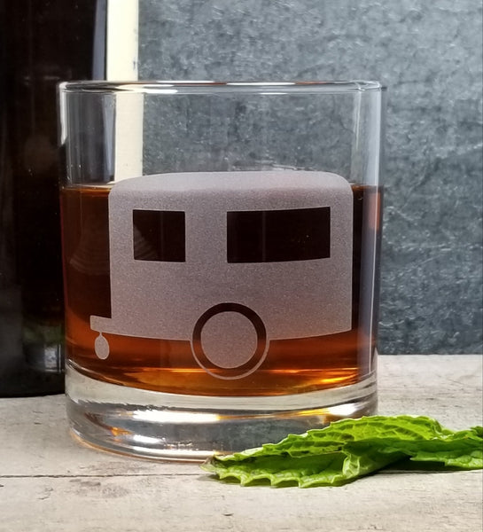 Vintage Camper Airstream Etched Cocktail Rocks Old Fashioned Glass Glassware- Monster Dance Designs