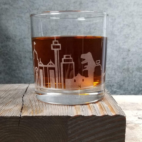 San Antonio Dinosaur Skyline Etched Cocktail Rocks Old Fashioned Glass Glassware- Monster Dance Designs