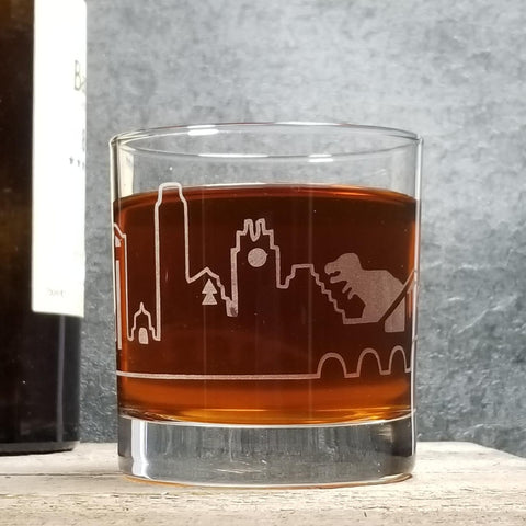 Austin Skyline T-Rex Attack! Glassware Glassware- Monster Dance Designs