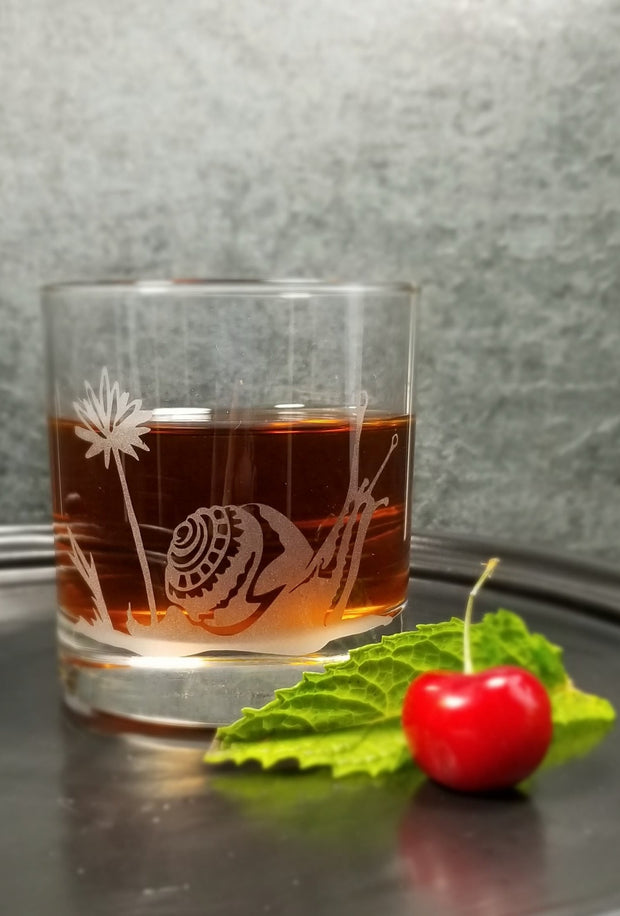 Garden Snail Etched Whiskey Glass 1