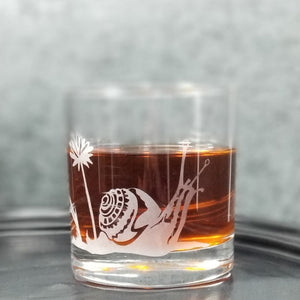 Garden Snail Etched Whiskey Glass