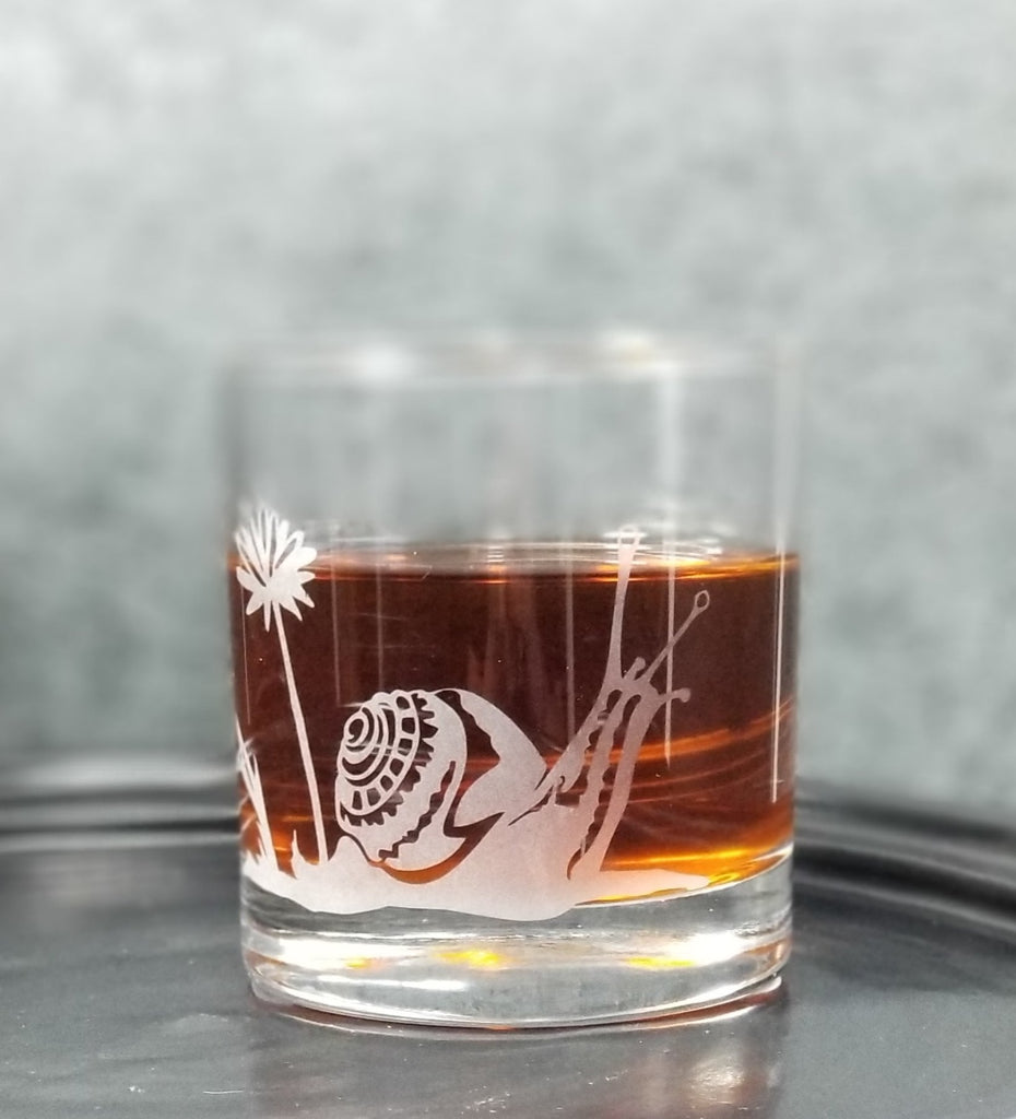 Garden Snail Etched Cocktail Rocks Old Fashioned Glass Glassware- Monster Dance Designs