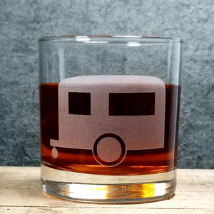 Camper Airstream Etched Whiskey Glass